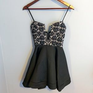 Windsor skater dress with lace top detail